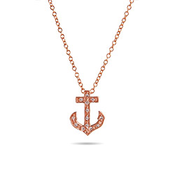 Tiffany Inspired Rose Gold CZ Petite Anchor Pendant