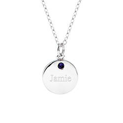 Sterling Silver Single CZ Petite Round Tag Birthstone Pendant