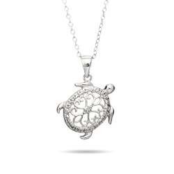 Sterling Silver Filigree Design Turtle Necklace