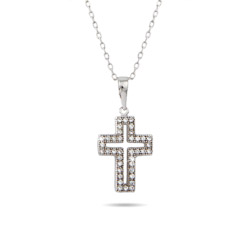 Sterling Silver Micro-Pave CZ Cross Stencil Necklace