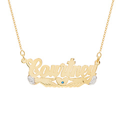 Gold Vermeil Loving Hands Birthstone Nameplate Necklace