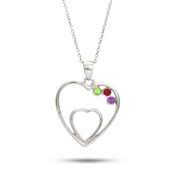 Two Hearts 3 Stone Austrian Crystal Mother's Pendant