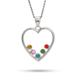 5 Stone Simple Sterling Silver Birthstone Heart with Swarovski Crystals