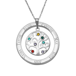 7 Stone Personalized Birthstone Crystal Family Tree Pendant