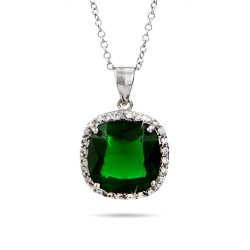 Envious Cushion Cut Sterling Silver Emerald Green Pendant