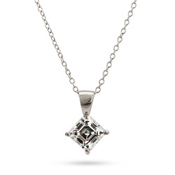 Sterling Silver Princess Cut CZ Solitaire Necklace