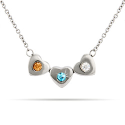 3 Stone Family of Hearts Custom Birthstone Necklace