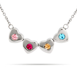 4 Stone Family of Hearts Custom Birthstone Necklace