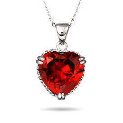Dazzling Ruby Red Sterling Silver Heart Pendant