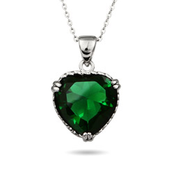 Brilliant Emerald Green Sterling Silver Heart Pendant