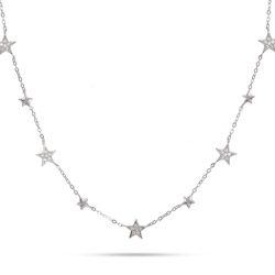 Sparkling Seven Star Sterling Silver Chain Necklace