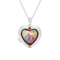 2 Stone Custom Birthstone Silver Photo Heart Locket