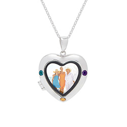 3 Stone Custom Birthstone Silver Photo Heart Locket