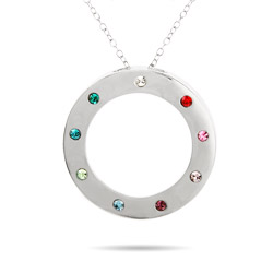 9 Stone Engravable Sterling Silver Birthstone Circle Pendant