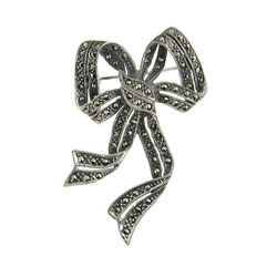 Sterling Silver and Marcasite Pretty Holiday Bow Pin