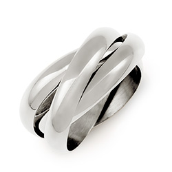 Tiffany Style Sterling Silver Triple Roll Russian Wedding Ring