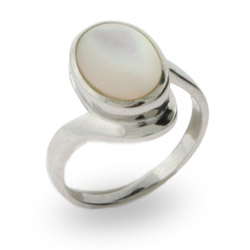 Bella's Twilight Inspired Sterling Silver Ring with Mother of Pearl