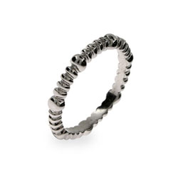 Thin Beaded Dot Sterling Silver Stackable Band
