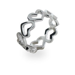 Sterling Silver Continuous Heart Ring