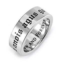 Love Now and Forever Stainless Steel Poesy Ring