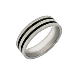 Men's Double Lined Black Inlay Engravable Promise Ring