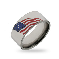 Stainless Steel American Flag Ring