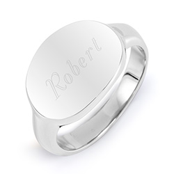 Tiffany Style Stainless Steel Engravable Signet Ring