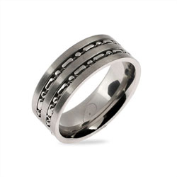 Men's Silver Beaded Double Row Stainless Steel Band