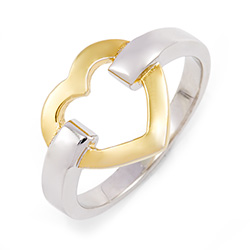 Tiffany Inspired Gold Heart Link Sterling Silver Ring