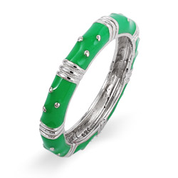 Designer Style Stackable Emerald Green Enamel Ring