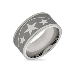 Stainless Steel Band of Stars Message Ring