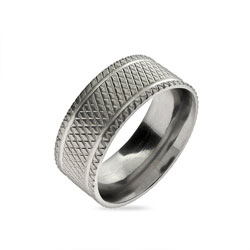 Diamond Cut Double Stripe Men's Stainless Steel Band
