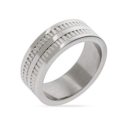 Mens Double Row Tread Stainless Steel Ring