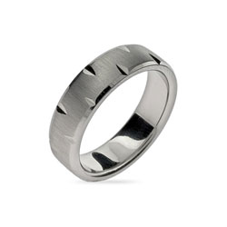 Diamond Cut Brushed Stainless Steel Engravable Band