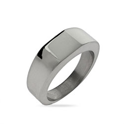 Lady's Square Cut Engravable Signet Ring