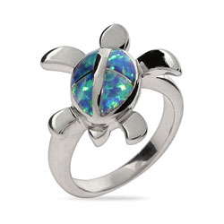 Sterling Siver Swimming Sea Turtle Ring with Opal