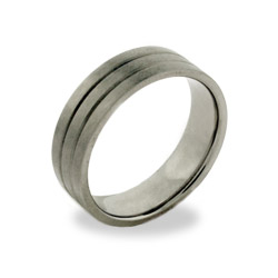 Men's Double Grooved Titanium Promise Ring