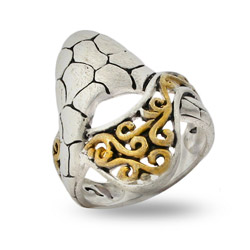 Designer Inspired Two Tone Matte Finish Filigree Bali Ring