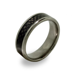 Mens Titanium Ring with Carbon Fiber Inlay