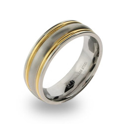Mens Stainless Steel Wedding Band with Double Gold Border