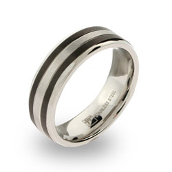 Mens Stainless Steel band with Double Black Inlay
