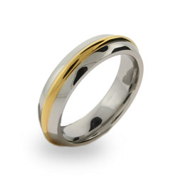 Mens Stainless Steel Gold Rimmed Band