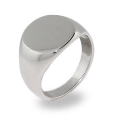 Ladies Oval Cut Stainless Steel Signet Ring