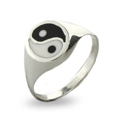 Black & White Sterling Silver Yin Yang Ring