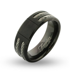 Mens Wide Black Titanium Engravable Signet Ring with Double Cable Inlay