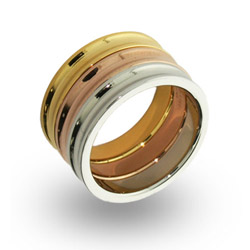 Tiffany Inspired Three Tone Stackable Concave Ring Set