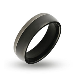 Mens Silver Trim Black Plate Engravable Band