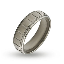 Mens Stainless Steel Ridged Band with Milgrain Edges