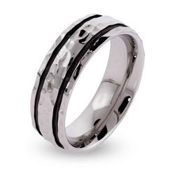 Men's Black Lined Hammered Stainless Steel Engravable Band