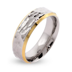 Men's Gold Lined Hammered Stainless Steel Engravable Band